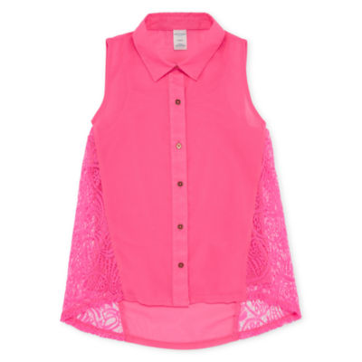 Arizona Button Up Lace Chiffon Tank Top - Girls' 4-16 & Plus