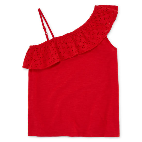 Arizona One Shoulder Ruffle Tank Top - Girls' 4-16 & Plus