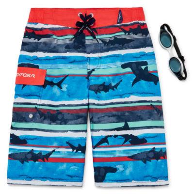 Zeroxposur Shark Stripes Swim Trunks - Boys 8-20