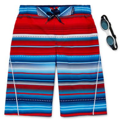 Zeroxposur Patriot Stripe Swim Trunks - Boys 8-20