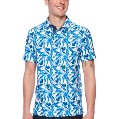 Society Of Threads Short Sleeve Leaf Pique Polo Shirt