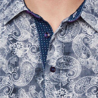 Society Of Threads Short Sleeve Paisley Pique Polo Shirt