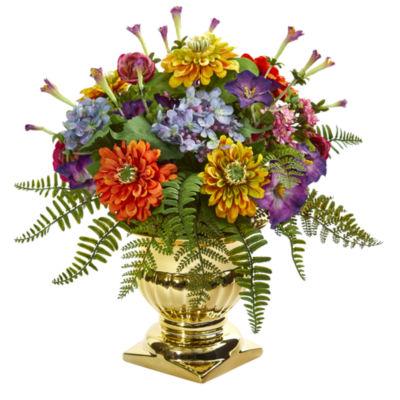 14'' Mixed Floral Artificial Arrangement in Gold Urn