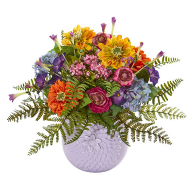 Mixed Floral Artificial Arrangement in Purple Vase