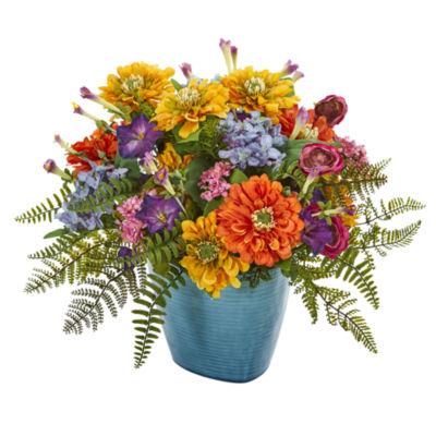 Mixed Floral Artificial Arrangement in Blue Vase