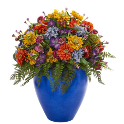 Giant Mixed Floral Artificial Arrangement in BlueVase