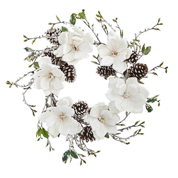 24 Snowed Magnolia / Pine Cone Wreath