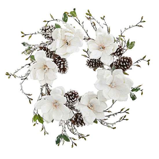 "24"" Snowed Magnolia / Pine Cone Wreath"