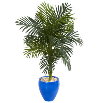 4.5' Golden Cane Artificial Palm Tree in Blue Oval Planter