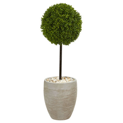 3' Boxwood Ball Topiary Artificial Tree in OvalPlanter UV Resistant (Indoor/Outdoor)