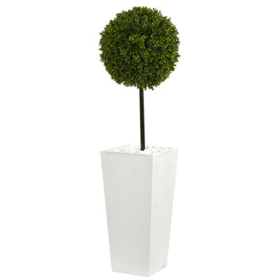 3.5' Boxwood Ball Topiary Artificial Tree in White Tower Planter UV Resistant (Indoor/Outdoor)