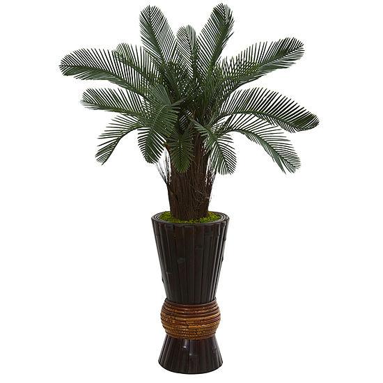 35 Cycas Artificial Tree In Bamboo Planter Uvresistant Indoor Outdoor