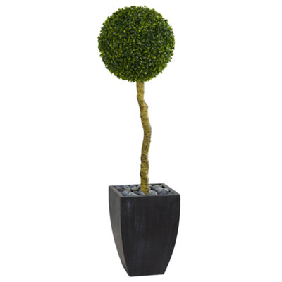4' Boxwood Ball Topiary Artificial Tree in BlackWash Planter UV Resistant (Indoor/Outdoor)