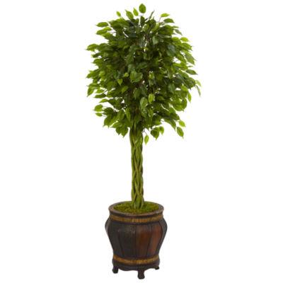 4.5' Braided Ficus Artificial Tree in Planter UVResistant (Indoor/Outdoor)