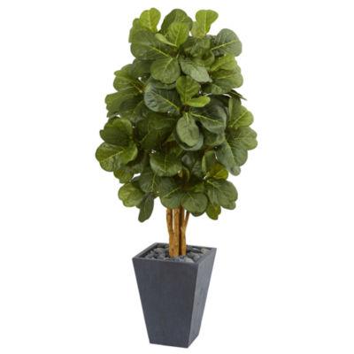 5.5' Fiddle Leaf Artificial Tree in Slate Planter