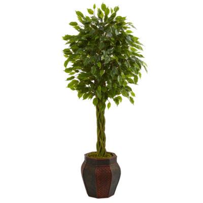 4.5' Braided Ficus Artificial Tree in DecorativePlanter