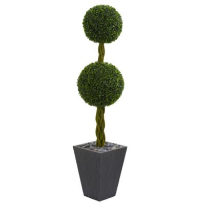 5' Double Ball Boxwood Topiary Artificial Tree in Slate Planter UV Resistant (Indoor/Outdoor)r)