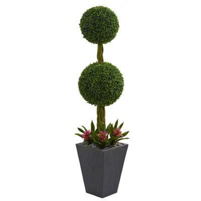 5' Double Boxwood Ball Topiary Artificial Tree in Slate Planter UV Resistant (Indoor/Outdoor)