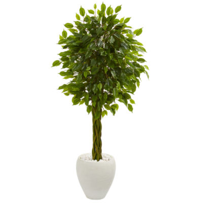 4.5' Braided Ficus Artificial Tree in White Planter UV Resistant (Indoor/Outdoor)