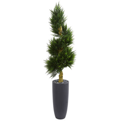 6' Spiral Cypress Artificial Tree in Cylinder Planter UV Resistant (Indoor/Outdoor)