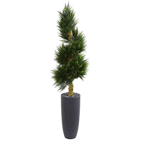 6' Spiral Cypress Artificial Tree in Cylinder Planter UV Resistant (Indoor/Outdoor)