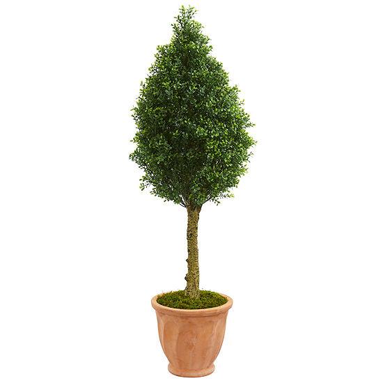 4' Boxwood Cone Artificial Tree in Terracotta Planter UV Resistant (Indoor/Outdoor)