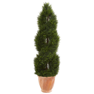 4.5' Double Pond Cypress Topiary Artificial Treein Terracotta Planter UV Resistant (Indoor/Outdoor)