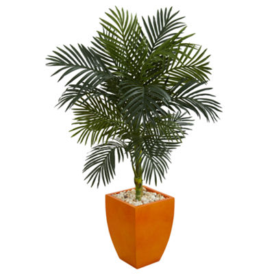 4.5' Golden Cane Palm Artificial Tree in OrangePlanter