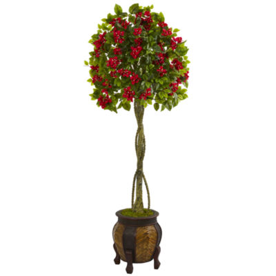 5.5' Bougainvillea Topiary Artificial Tree in Decorative Planter