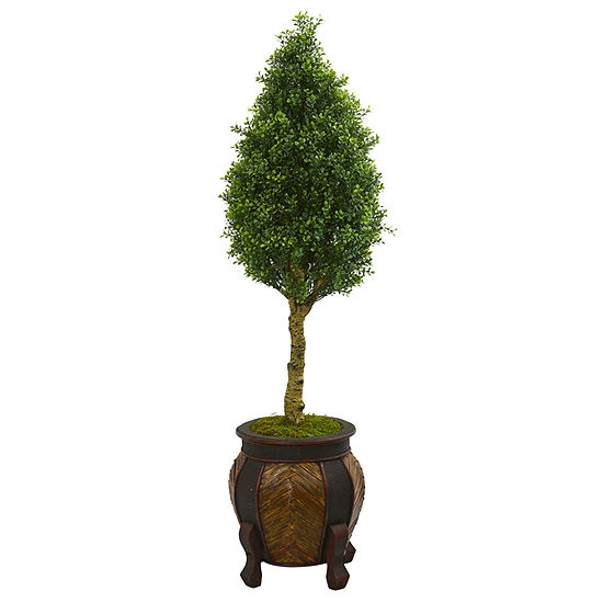4.5' Boxwood Cone Artificial Tree in DecorativePlanter