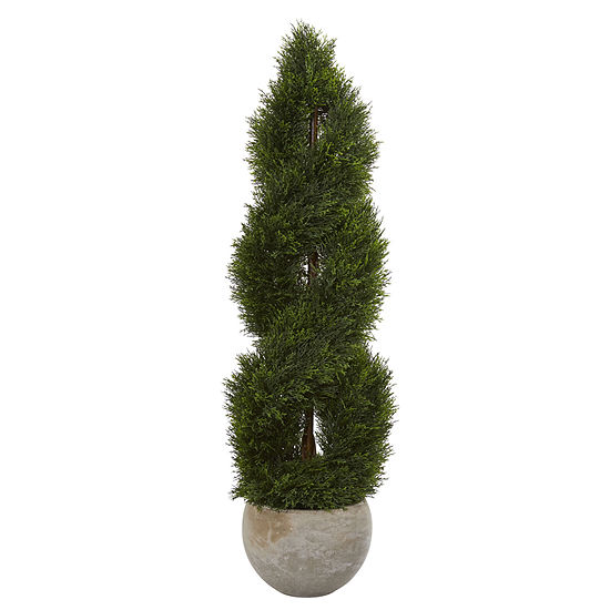 4' Double Pond Cypress Spiral Artificial Tree inSand Colored Planter UV Resistant (Indoor/Outdoor)