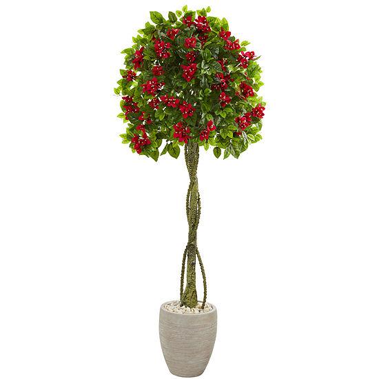 5.5' Bougainvillea Topiary Artificial Tree in Sand Colored Planter