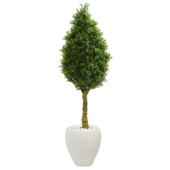 4.5' Boxwood Cone Topiary Artificial Tree in White Oval Planter UV Resistant (Indoor/Outdoor)