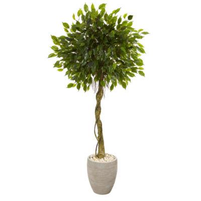 5.5' Ficus Artificial Tree in Oval Planter UV Resistant (Indoor/Outdoor)