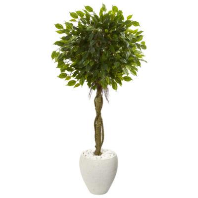 4.5' Ficus Artificial Tree in White Oval PlanterUV Resistant (Indoor/Outdoor)