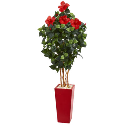 5.5' Hibiscus Artificial Tree in Red Tower Planter