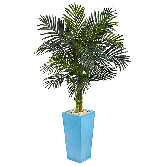 5' Golden Cane Palm Artificial Tree in TurquoiseTower Vase