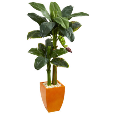5.5' Double Stalk Banana Artificial Tree in Orange Planter