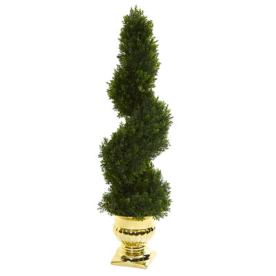 27 Cedar Spiral Artificial Topiary Tree in Gold Urn (Indoor/Outdoor)