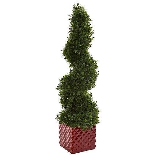 26 Cedar Spiral Artificial Topiary Tree in Red Ceramic Cube