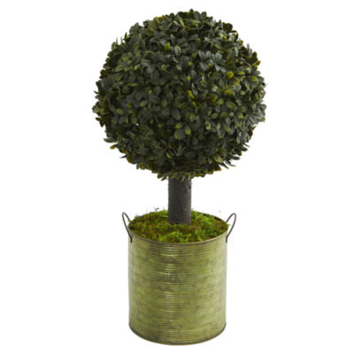 1.5' Boxwood Ball Topiary Artificial Tree in Green Tin (Indoor/Outdoor)