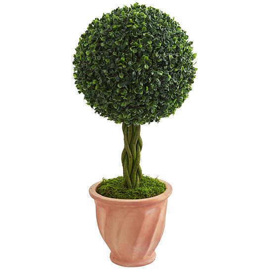 2' Boxwood Ball Topiary Artificial Tree in Terracotta Planter UV Resistant (Indoor/Outdoor)