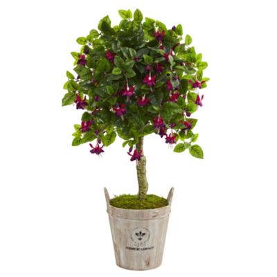 45 Fuchsia Artificial Tree in Barrel Planter