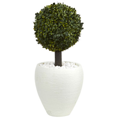 26 Boxwood Topiary Artificial Tree in White Oval Planter (Indoor/Outdoor)