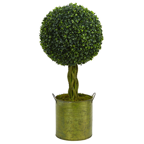 2' Boxwood Ball Topiary Artificial Tree in GreenTin UV Resistant (Indoor/Outdoor)