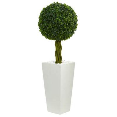 2.5' Boxwood Ball Topiary Artificial Tree in White Tower Planter UV Resistant (Indoor/Outdoor)
