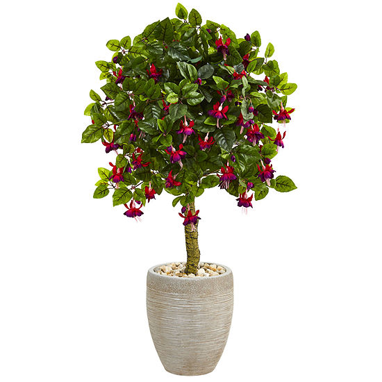3' Fuchsia Artificial Tree in Sand Colored Oval Planter