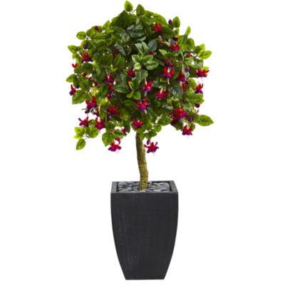 4' Fuchsia Artificial Tree in Black Wash Planter