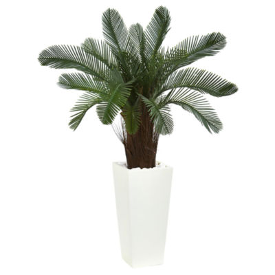 40 Cycas Artificial Tree in White Tower Planter UVResistant (Indoor/Outdoor)