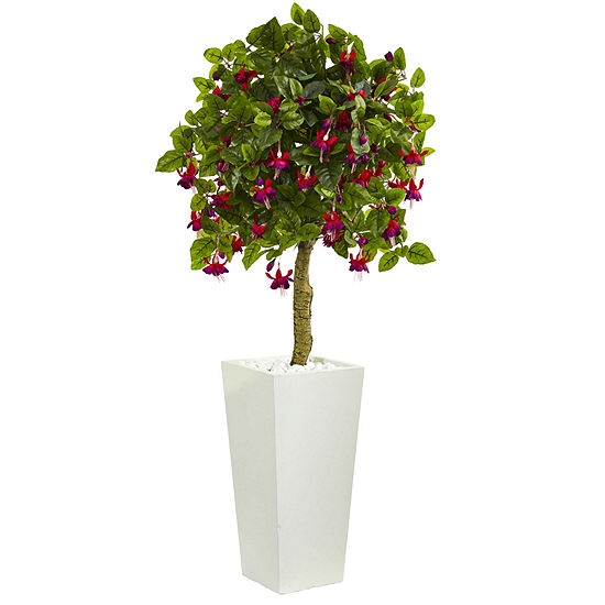 4' Fuchsia Artificial Tree in White Tower Planter